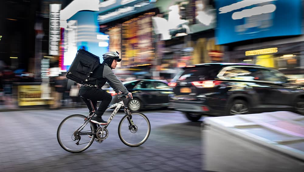 food delivery rider on bike